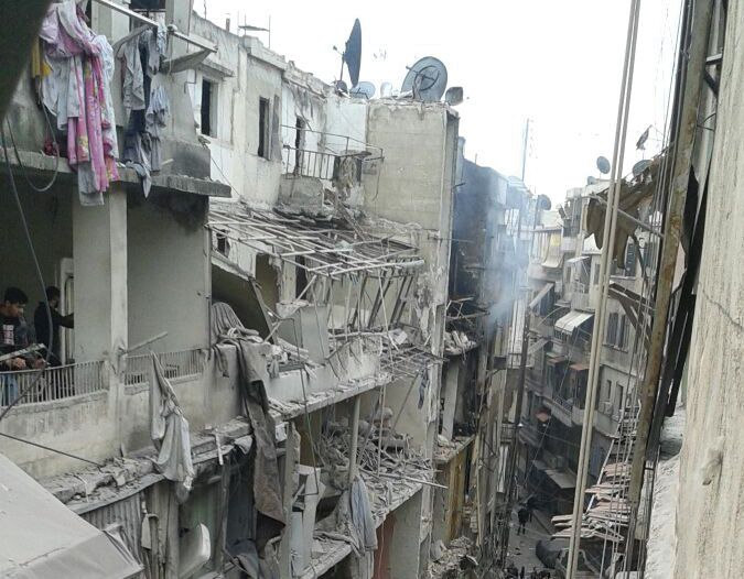 Pommitettu kaupunginosa Aleppossa. USA 10-2015
